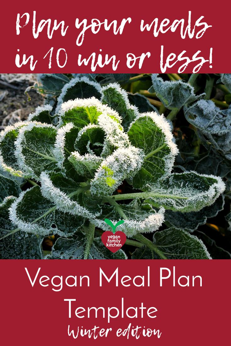 Vegan meal plan template - Winter edition - Pinterest