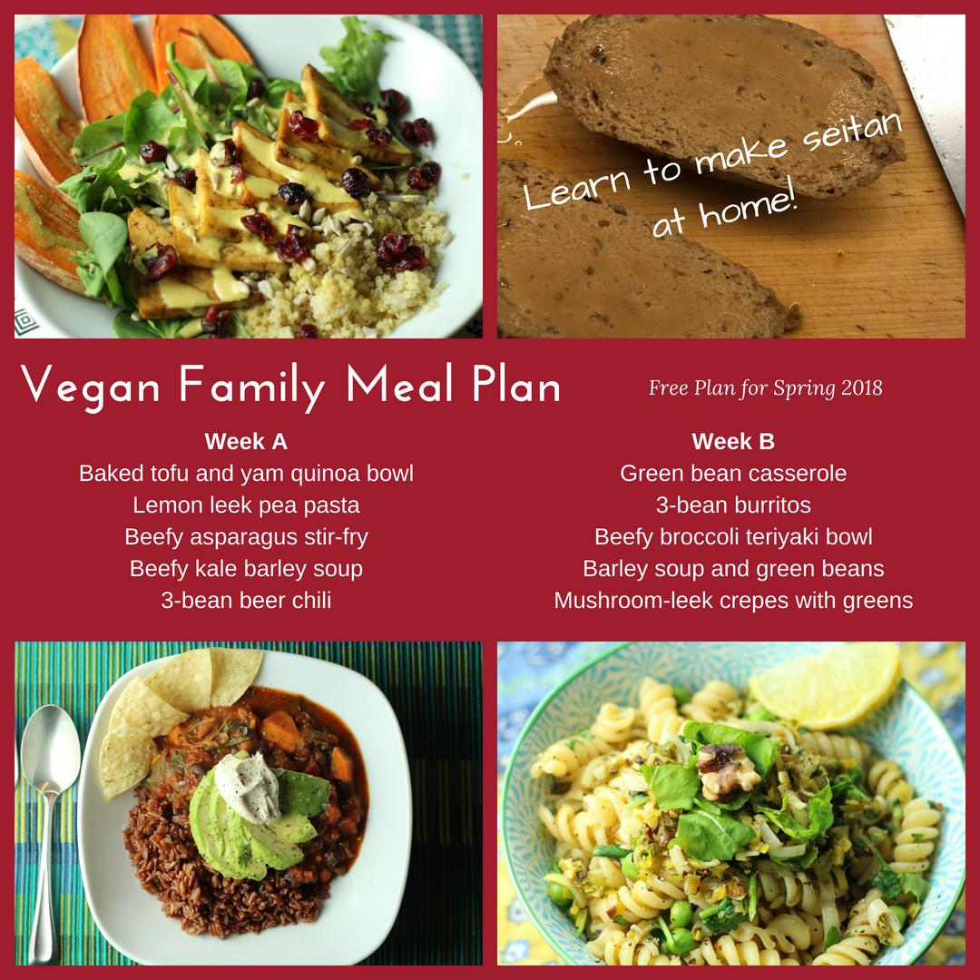 Free vegan meal plan for families