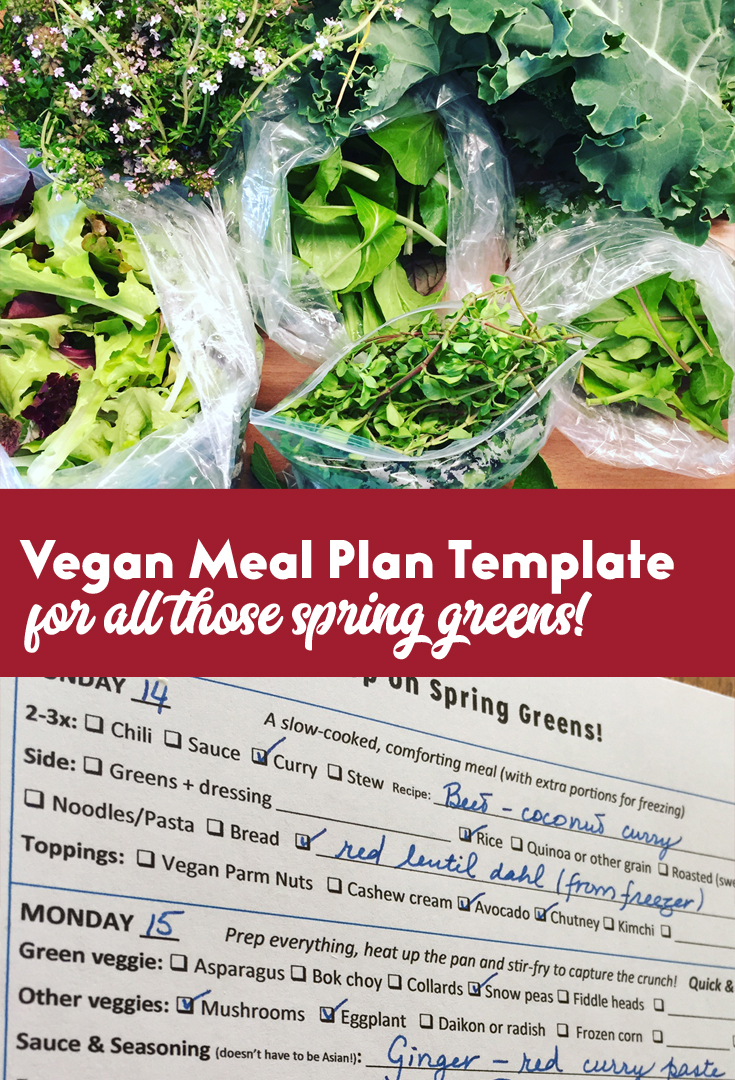 Vegan meal plan template for spring greens