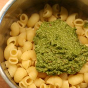 Vegan pesto on pasta
