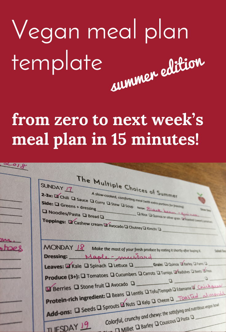 Vegan meal plan template summer vegetables