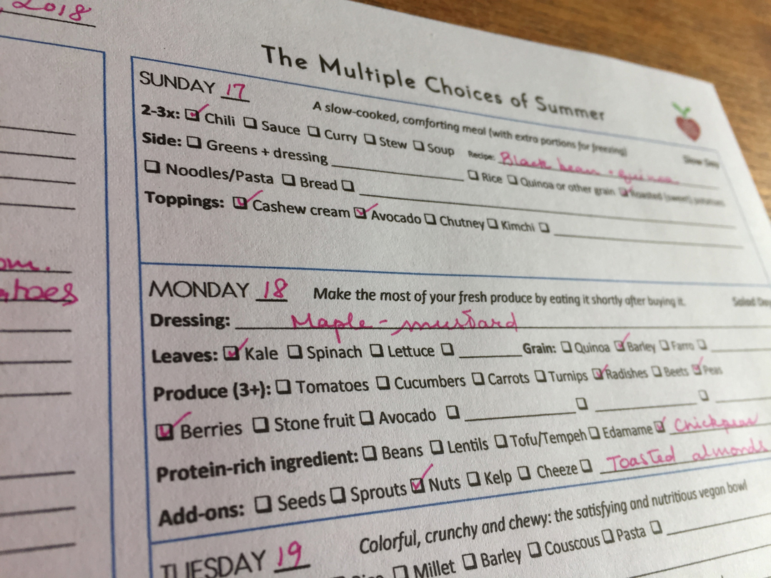 Vegan meal plan template summer example