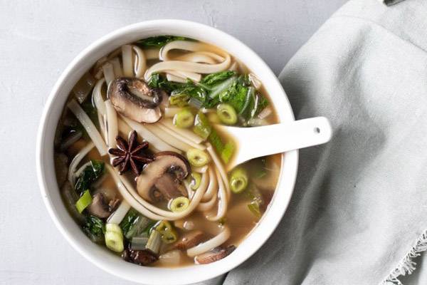 How to eat more greens - My Quiet Kitchen's seared bok choy noodle soup