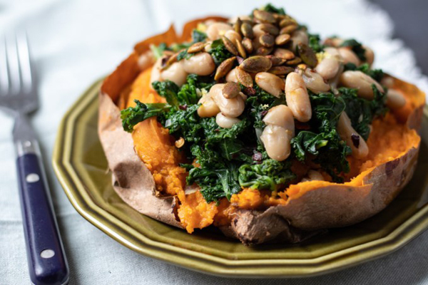 How to eat more greens - Sweet potatoes with lemony kale and white beans from My Quiet Kitchen
