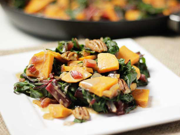 How to eat more greens - Plant-based Cooking's Sweet potatoes with swiss chard