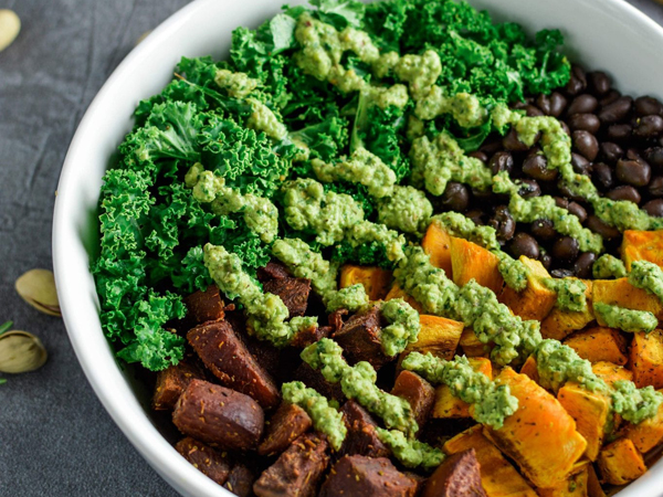 How to eat more greens - Plant Based Scotty's Sweet potato and beet bowl with pistachio pesto