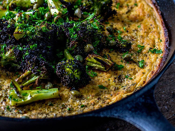 How to eat more greens - Quite Good Food - Farinata with charred broccoli