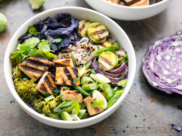 How to eat more greens - Vegan Yack Attack's Grilled Tofu Miso Noodle Soup