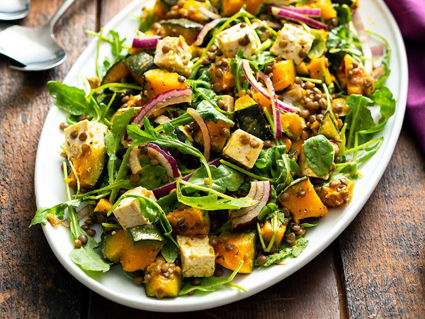 How to eat more greens - Vegan Yack Attach's Kabocha squash and feta salad with arugula