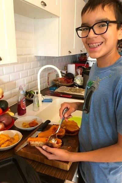 Teaching kids to cook (vegan) - Pamela's son Bly cooking
