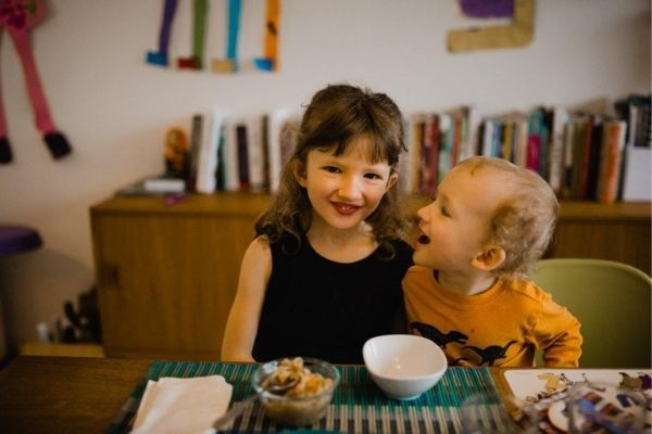Vegan with family - Transition - Chloe and Eric at the table