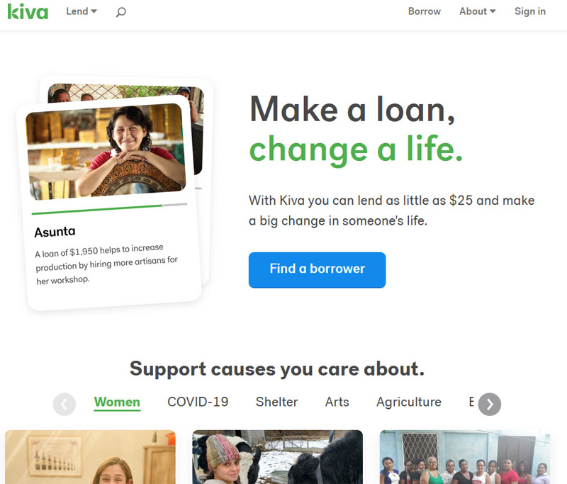 screenshot from Kiva web site