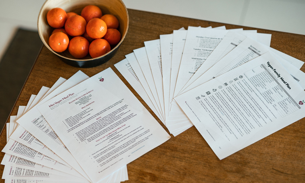 Vegan meal plans: two versions available (family and mini)