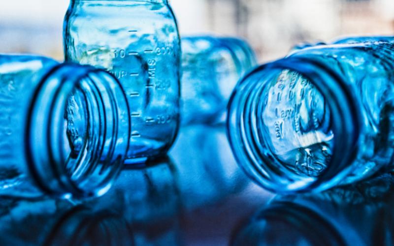 Beautiful blue jars - Plant-based pantry organization