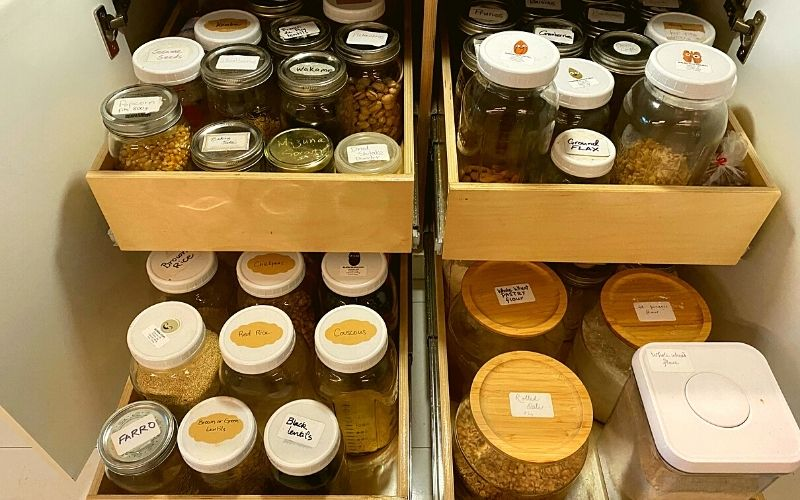 My pull-out drawers from Shelf Genie - Plant-based pantry organization